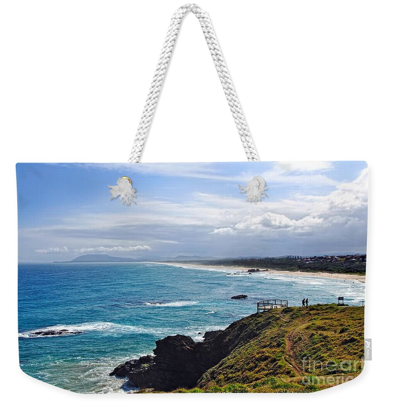Photography Weekender Tote Bag featuring the photograph Rocks Ocean Surf And Sun by Kaye Menner