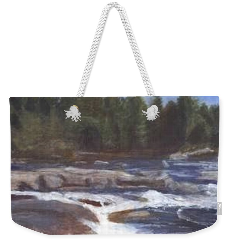 Rocks Weekender Tote Bag featuring the painting Rocks by Sheila Mashaw