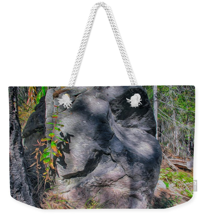 North Cascades Weekender Tote Bag featuring the painting Rocky Ancestor by Omaste Witkowski