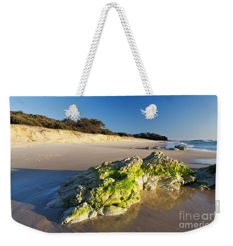 Beach Weekender Tote Bag featuring the photograph Rocky Beach by Tim Hester