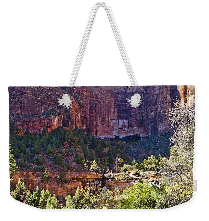 Zion National Park Weekender Tote Bag featuring the photograph Rocky Cliff - Zion by Jon Berghoff