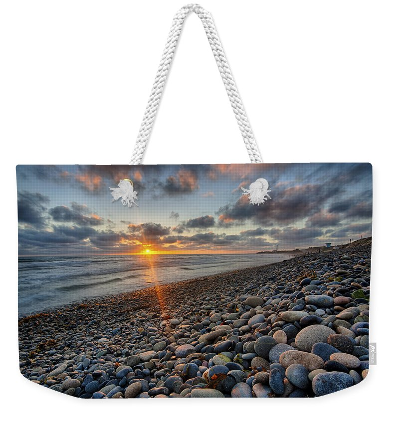 California Weekender Tote Bag featuring the photograph Rocky Coast Sunset by Peter Tellone