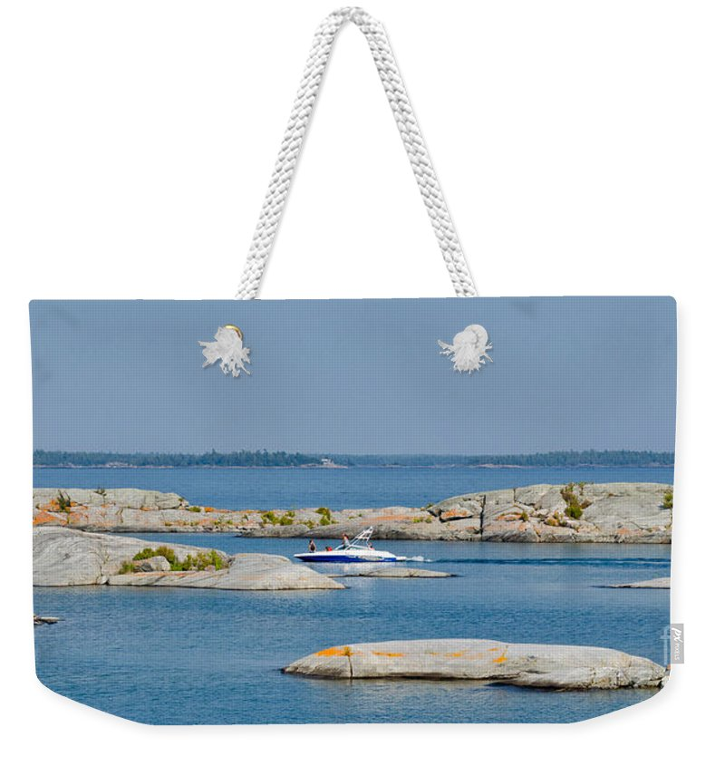 Rocks Weekender Tote Bag featuring the photograph Rocky Islands On Georgian Bay by Les Palenik