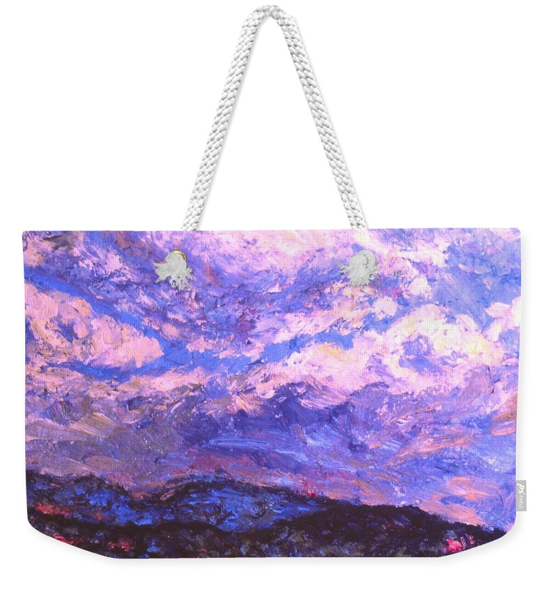 Mountains Weekender Tote Bag featuring the painting Rocky Knob Clouds by Kendall Kessler