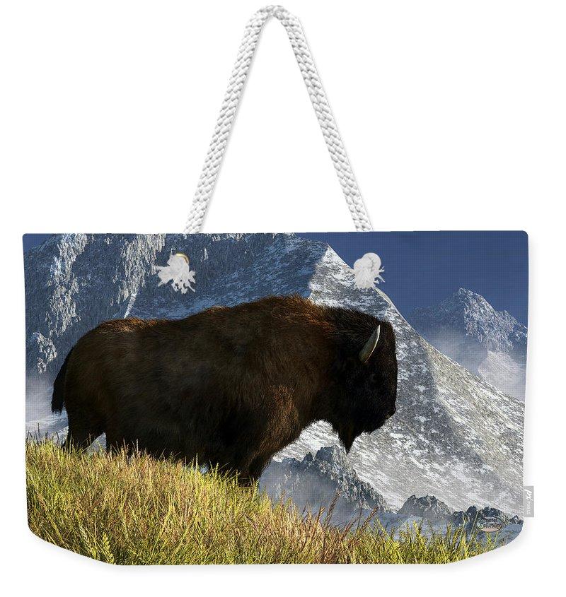 Bison Weekender Tote Bag featuring the digital art Rocky Mountain Buffalo by Daniel Eskridge