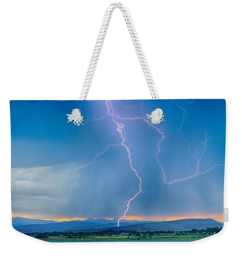 July Weekender Tote Bag featuring the photograph Rocky Mountain Foothills Lightning Strikes 2 Hdr by James BO Insogna