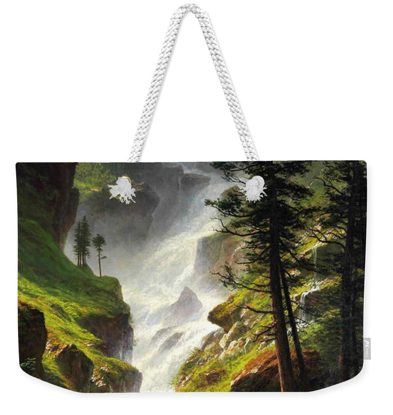 Albert Bierstadt Weekender Tote Bag featuring the painting Rocky Mountain Waterfall by Albert Bierstadt