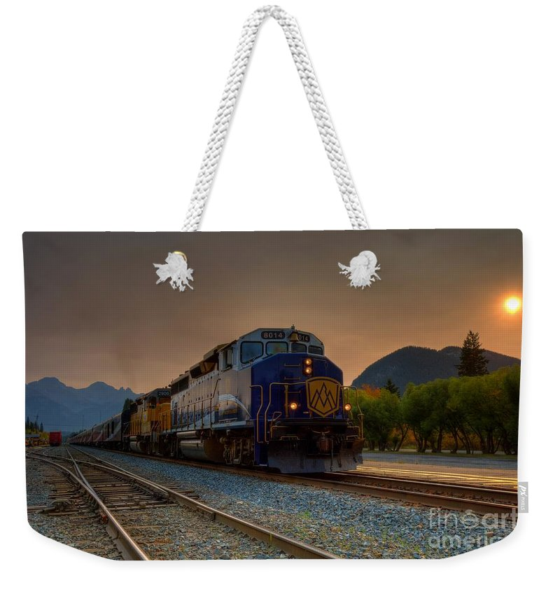 Banff Weekender Tote Bag featuring the photograph Rocky Mountaineer Sunrise by James Anderson