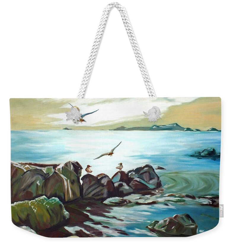 Chris Mccullough Weekender Tote Bag featuring the painting Rocky Seashore And Seagulls by Chris McCullough