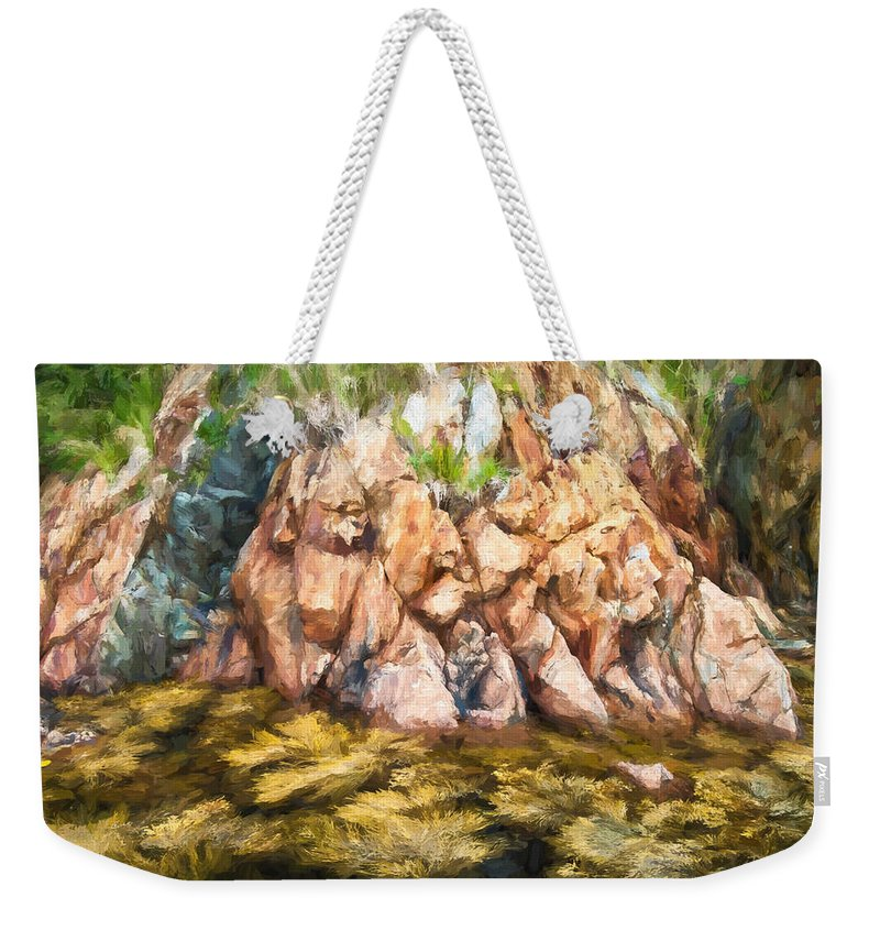 Atlantic Weekender Tote Bag featuring the photograph Rocky Shoreline by Boss Photographic