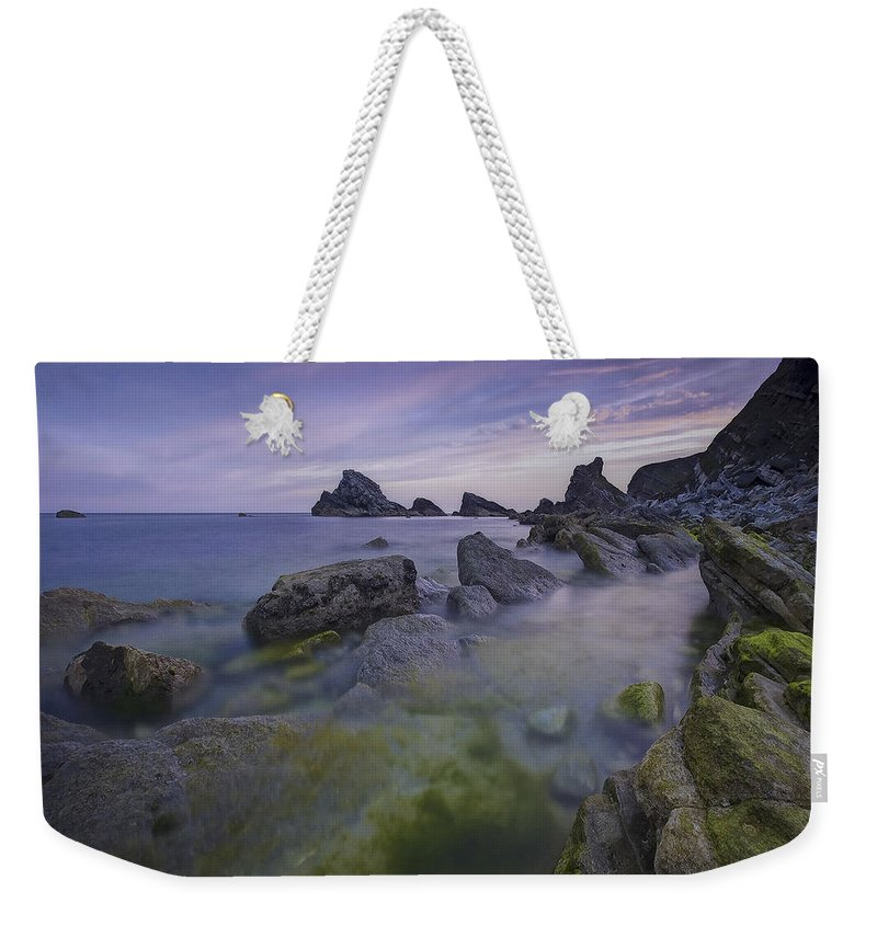 Shoreline Weekender Tote Bag featuring the photograph Rocky Shoreline by Ingrid Smith-Johnsen