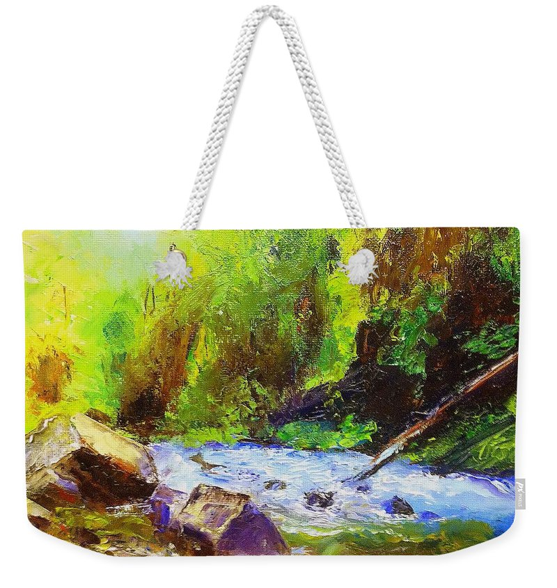 Water Weekender Tote Bag featuring the painting Rocky Stream by Gail Kirtz