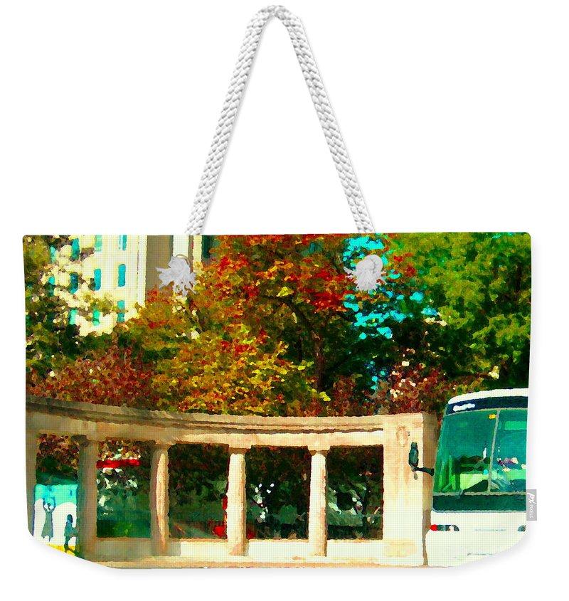 Mcgill University Weekender Tote Bag featuring the painting Roddick Gates Mcgill Campus Sherbrook Street Bus Autumn Downtown Montreal City Scenes Carole Spandau by Carole Spandau