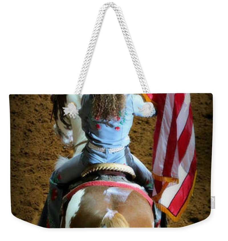 Rodeo Weekender Tote Bag featuring the photograph Rodeo America - Land Of The Free by Stephen Stookey