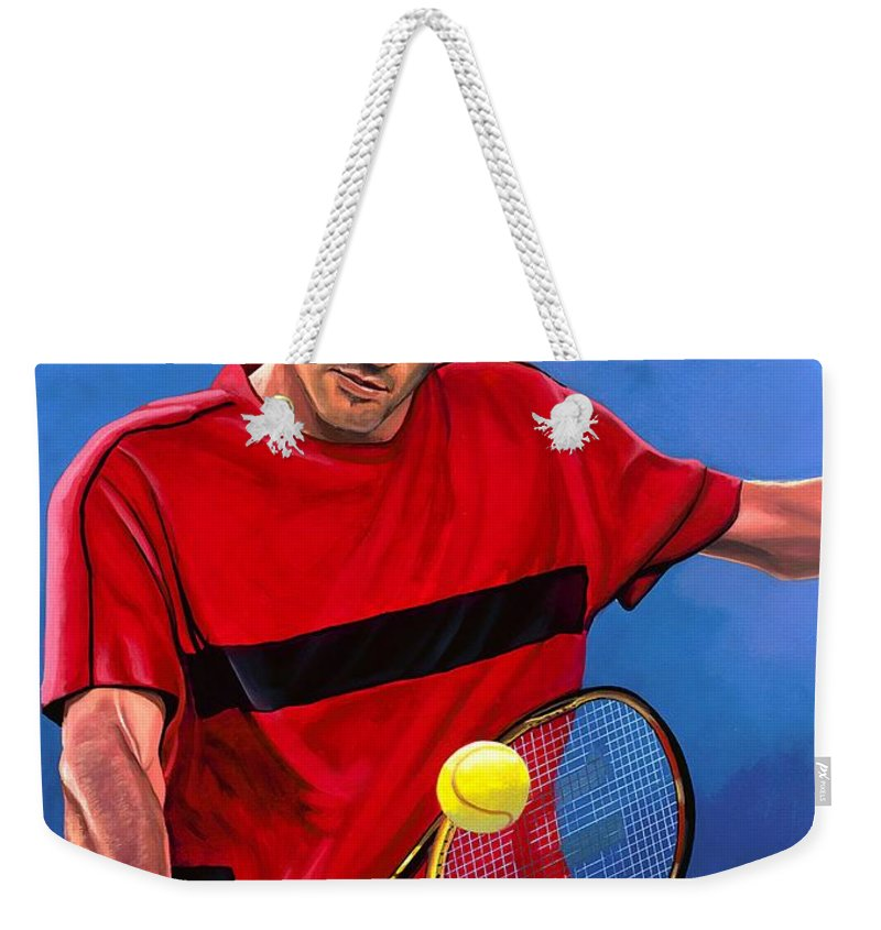 Roger Federer Weekender Tote Bag featuring the painting Roger Federer The Swiss Maestro by Paul Meijering