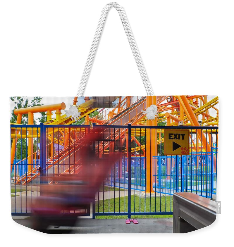 People Weekender Tote Bag featuring the photograph Rollercoasters At Amusement Park by Alex Grichenko