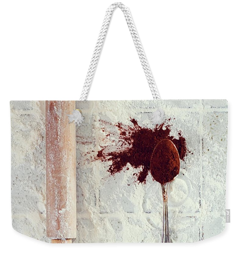 Rolling Pin Weekender Tote Bag featuring the photograph Rolling Pin, Teaspoon, Flour And Cocoa by One Girl In The Kitchen