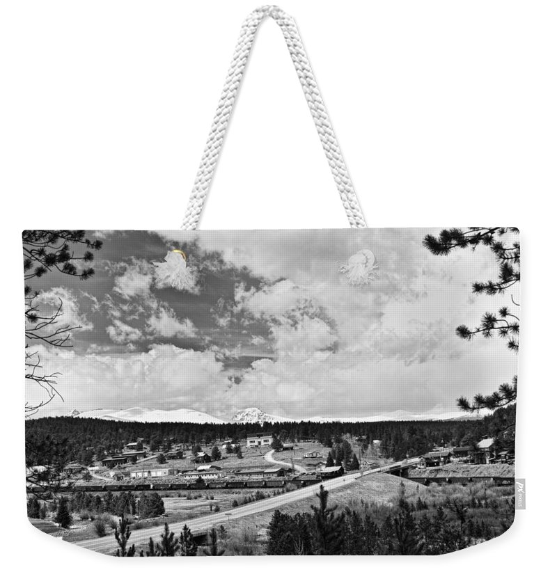 Rollinsville Is A Census-designated Place And A U.s. Post Office Located In Gilpin County Weekender Tote Bag featuring the photograph Rollinsville Colorado Small Town 181 In Black And White by James BO Insogna
