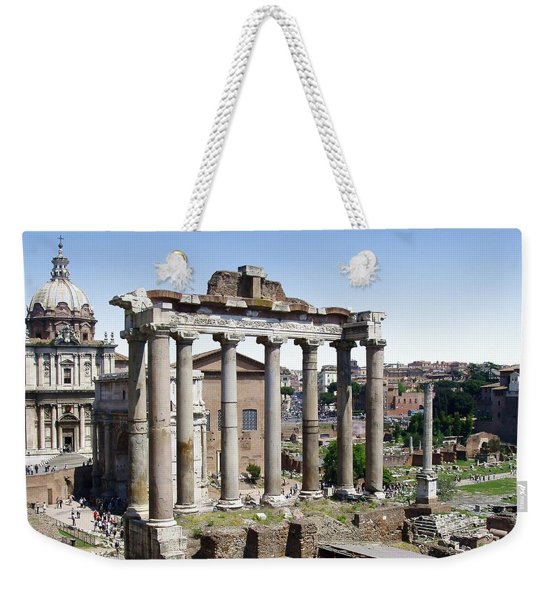 Roman Forum Weekender Tote Bag featuring the photograph Roman Forum by Ellen Henneke