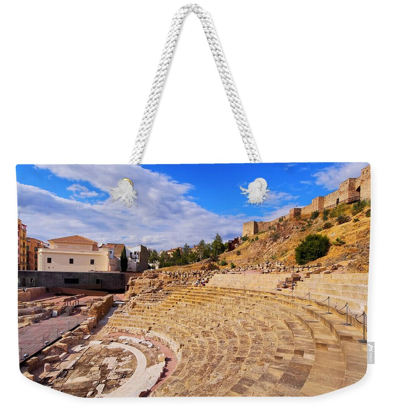 Horizontal Weekender Tote Bag featuring the photograph Roman Theatre In Malaga by Karol Kozlowski