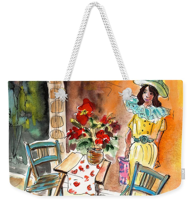 Travel Weekender Tote Bag featuring the painting Romance In Siracusa by Miki De Goodaboom