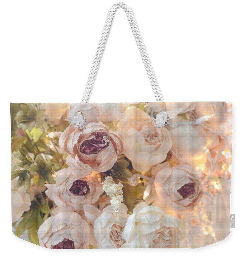 Shabby Chic Weekender Tote Bag featuring the photograph Romantic Shabby Chic Dreamy Pink And White Peonies - Shabby Chic Peonies In Basket by Kathy Fornal