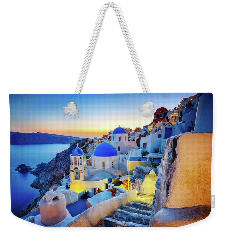 Greek Culture Weekender Tote Bag featuring the photograph Romantic Travel Destination Oia by Mbbirdy