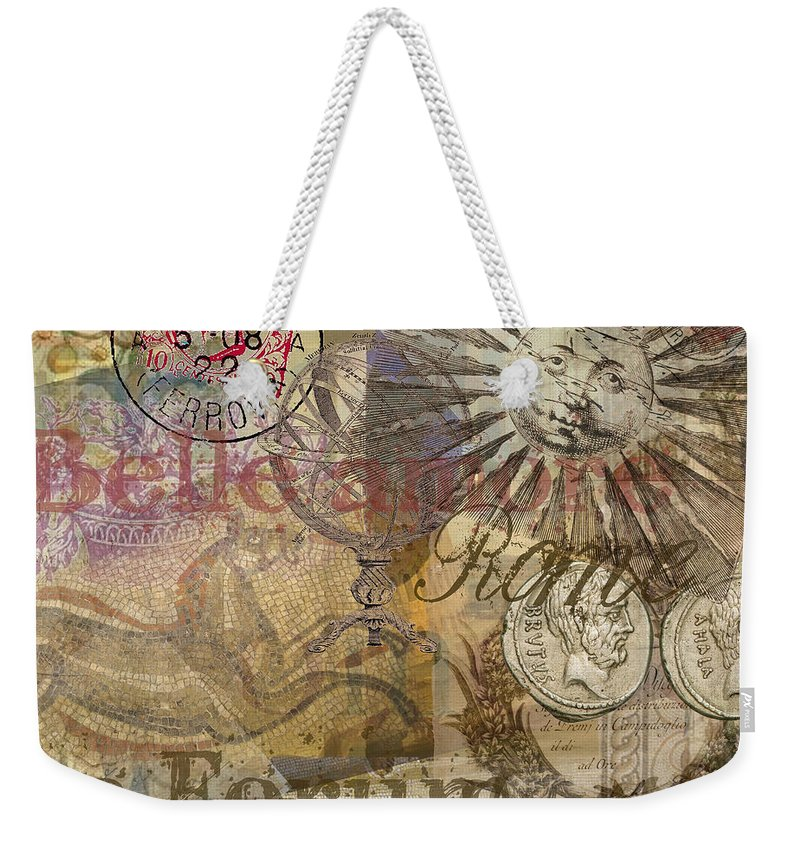 Doodlefly Weekender Tote Bag featuring the digital art Rome Vintage Italy Travel Collage by Mary Hubley