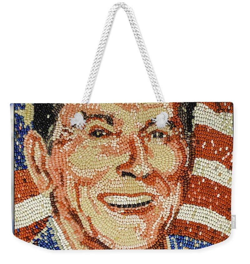 Ronald Wilson Reagan Weekender Tote Bag featuring the photograph Ronald Wilson Reagan Mosaic by LeeAnn McLaneGoetz McLaneGoetzStudioLLCcom