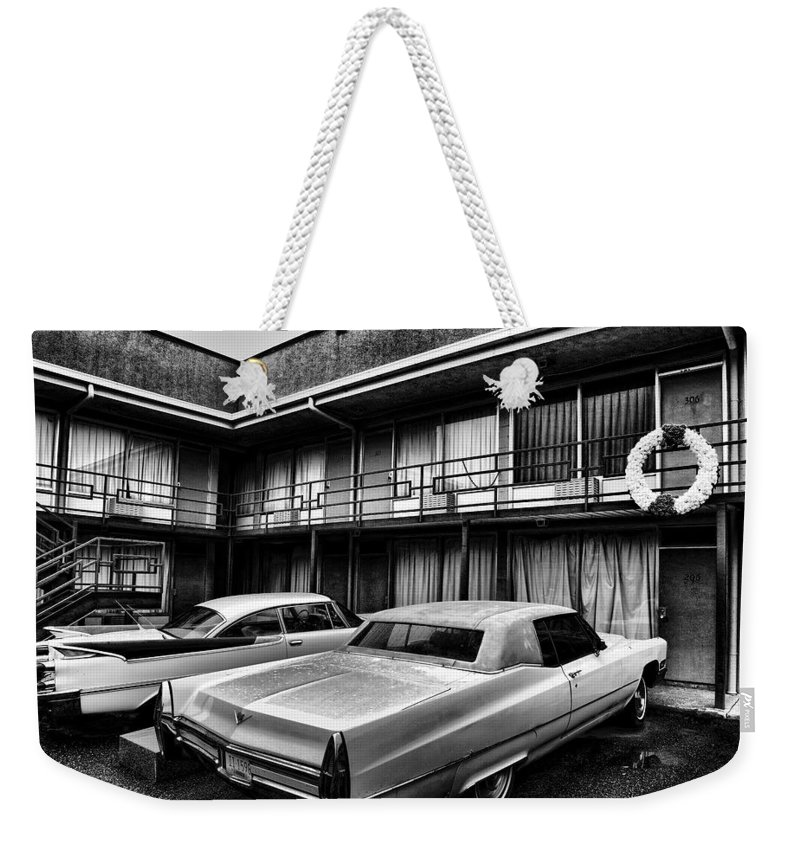 Memphis Weekender Tote Bag featuring the photograph Room 306 At The Lorraine Hotel by Stephen Stookey