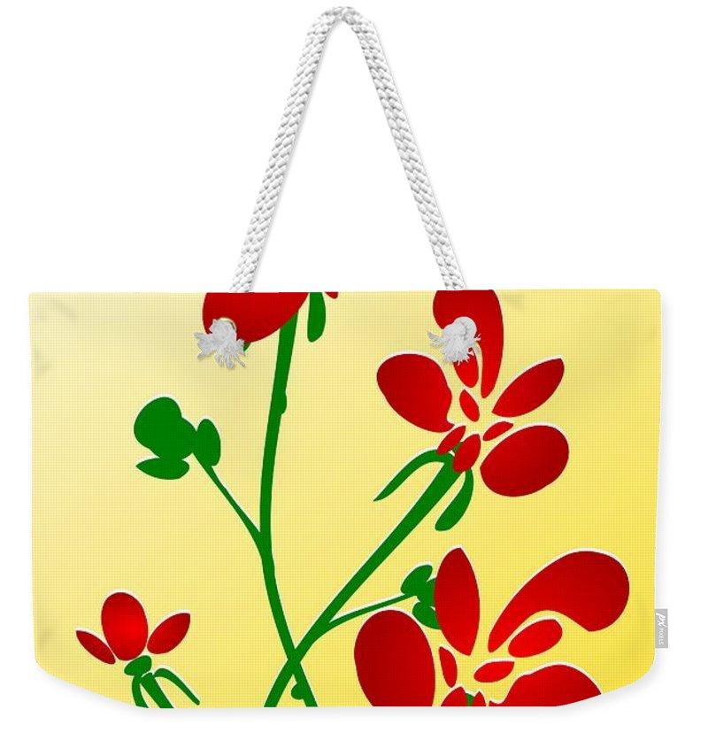 Red Weekender Tote Bag featuring the digital art Rooster Flowers by Anastasiya Malakhova