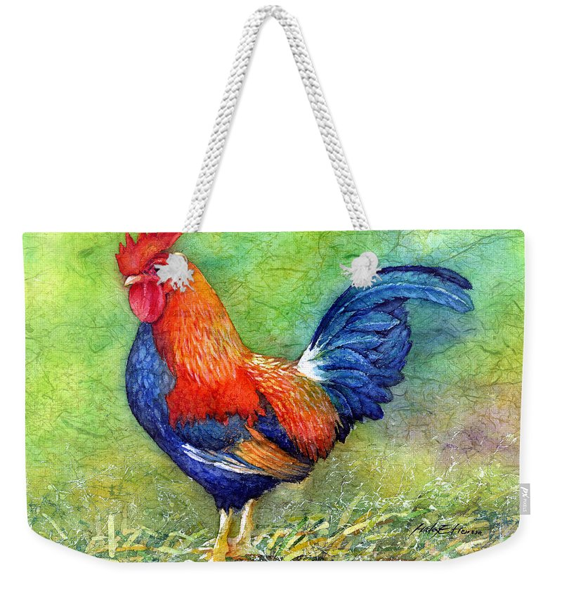 Rooster Weekender Tote Bag featuring the painting Rooster by Hailey E Herrera