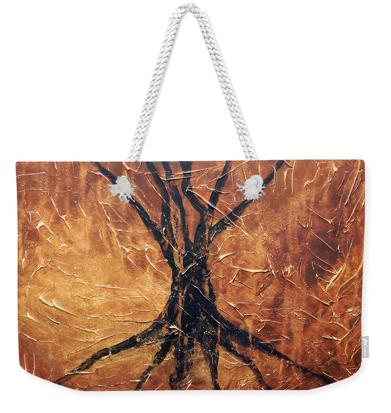 Landscape Weekender Tote Bag featuring the painting Roots by Sergey Bezhinets