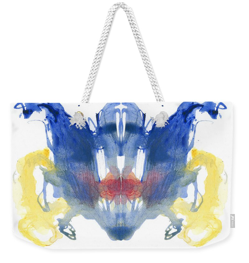 Psychology Weekender Tote Bag featuring the photograph Rorschach Type Inkblot by Spencer Sutton