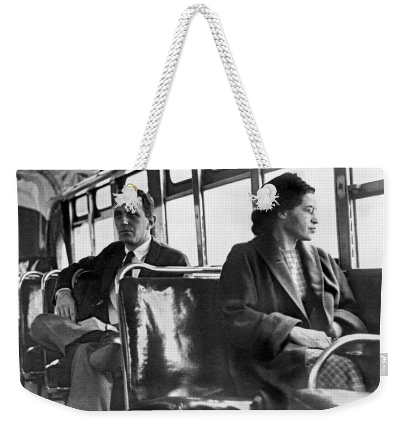 1956 Weekender Tote Bag featuring the photograph Rosa Parks On Bus by Underwood Archives