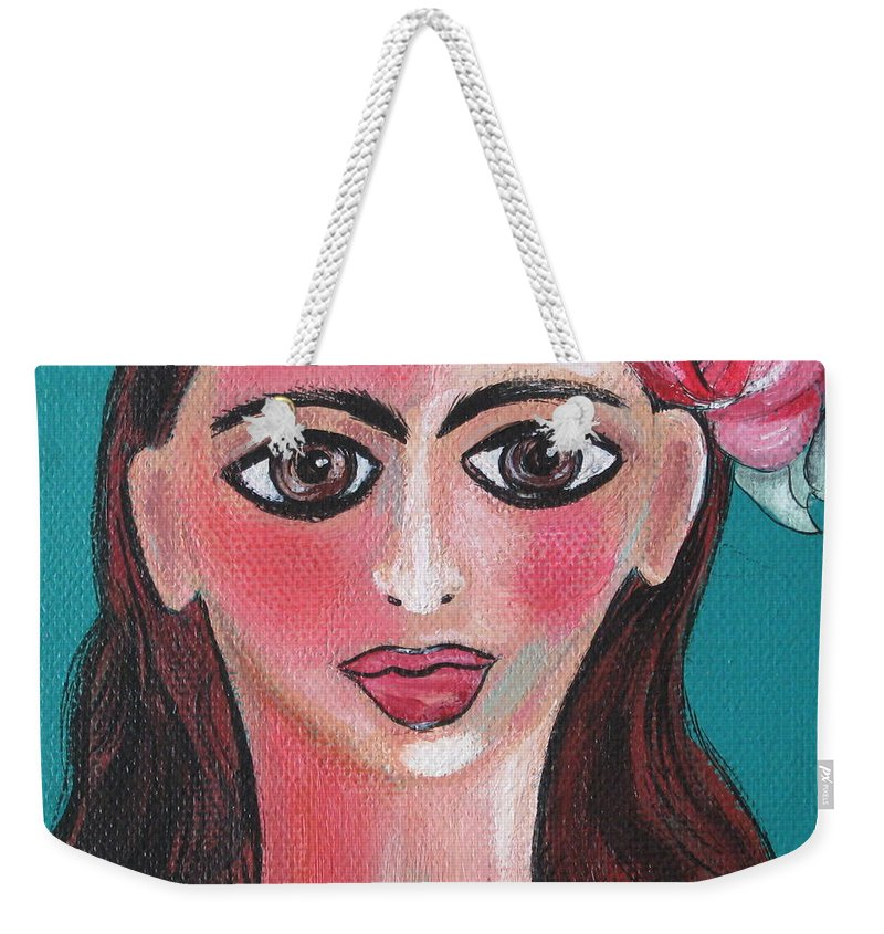 Canvas Weekender Tote Bag featuring the painting Rosa by Sue Wright