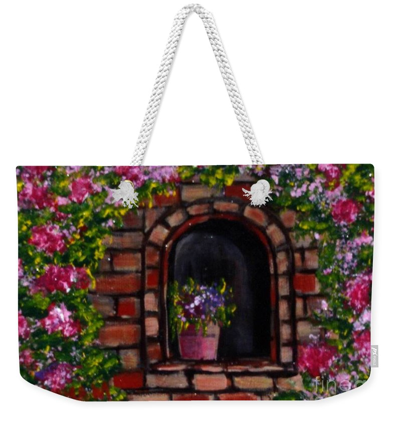 Rose Weekender Tote Bag featuring the painting Rosary by Laurie Morgan