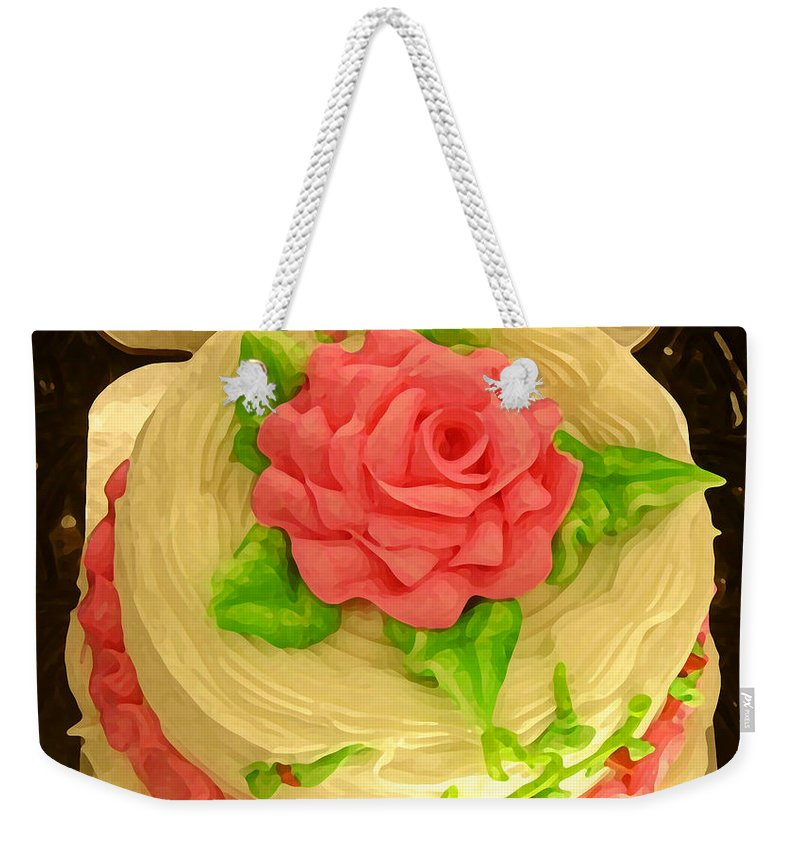 Food Weekender Tote Bag featuring the painting Rose Cakes by Amy Vangsgard