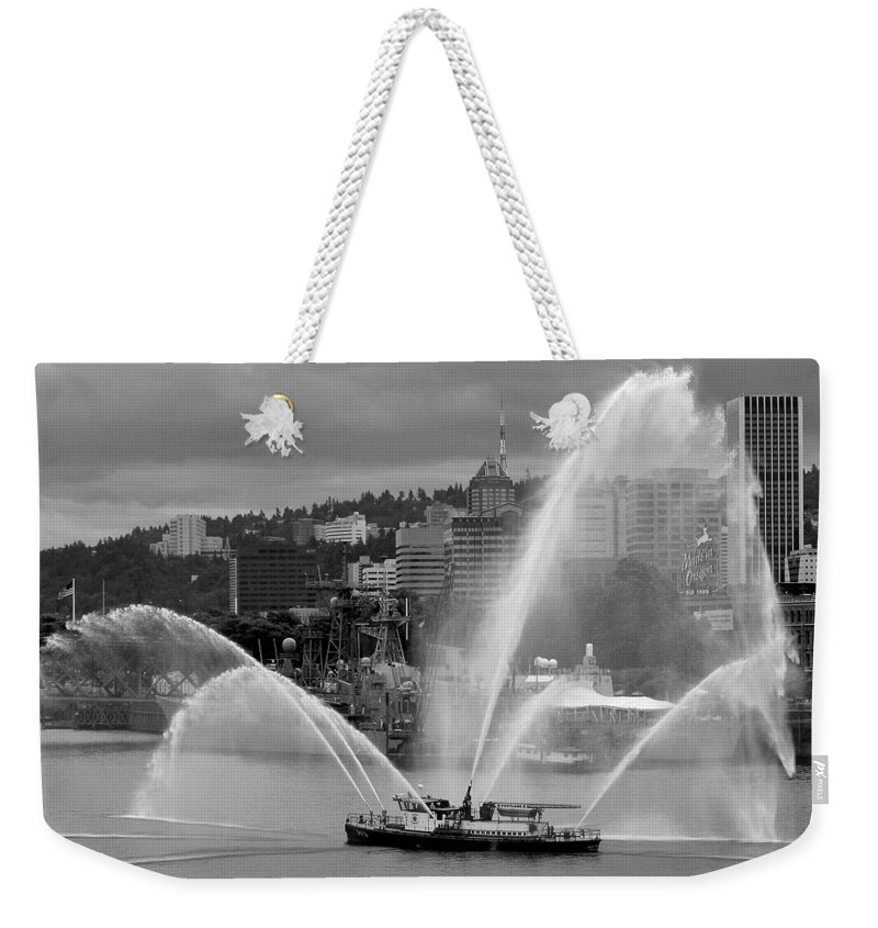 Rose Festival Fire Boat Weekender Tote Bag featuring the photograph Rose Festival Fire Boat by Wes and Dotty Weber