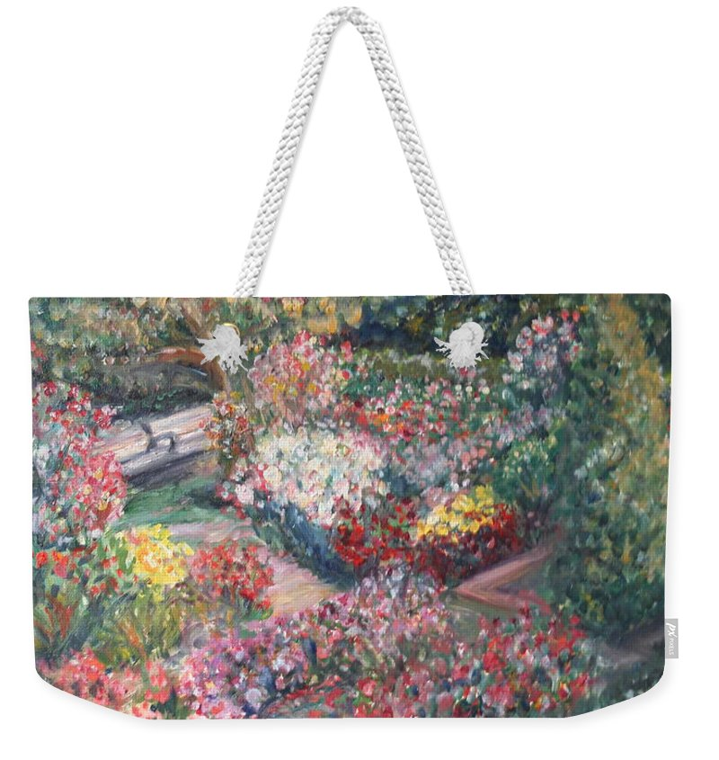 Impressionist Landscape Weekender Tote Bag featuring the painting Rose Garden by Quin Sweetman