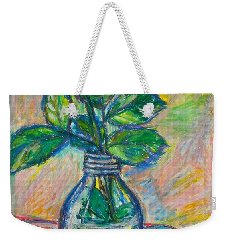 Still Life Weekender Tote Bag featuring the painting Rose In A Bottle by Kendall Kessler