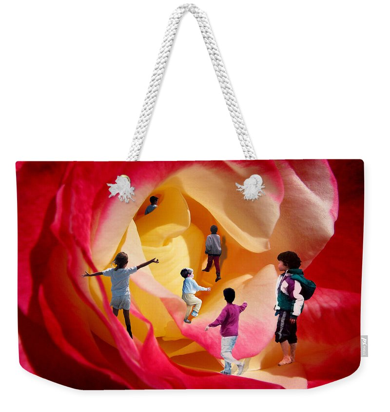 Rose Weekender Tote Bag featuring the digital art Rose Labyrinth by Lisa Yount