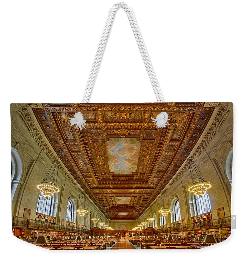 Main Branch Weekender Tote Bag featuring the photograph Rose Main Reading Room At The Nypl by Susan Candelario