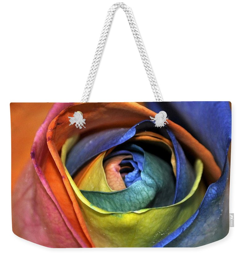 Rainbow Weekender Tote Bag featuring the photograph Rose Of Equality by Jim Brage