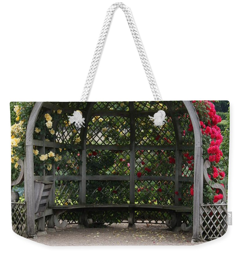 Roses Weekender Tote Bag featuring the photograph Rose Pavilion At Chateau Villandry by Christiane Schulze Art And Photography