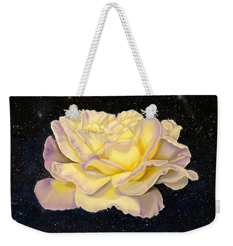 Flower Weekender Tote Bag featuring the painting Rose Stars by Zina Stromberg