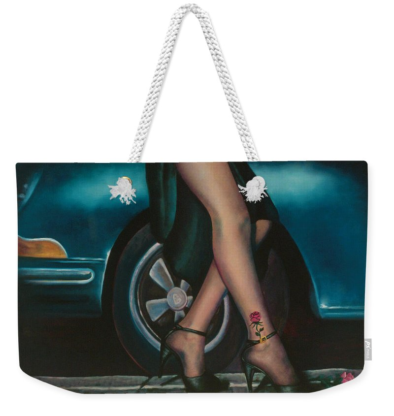 Legs Weekender Tote Bag featuring the painting Rose Tattoo by Mary Ann Leitch