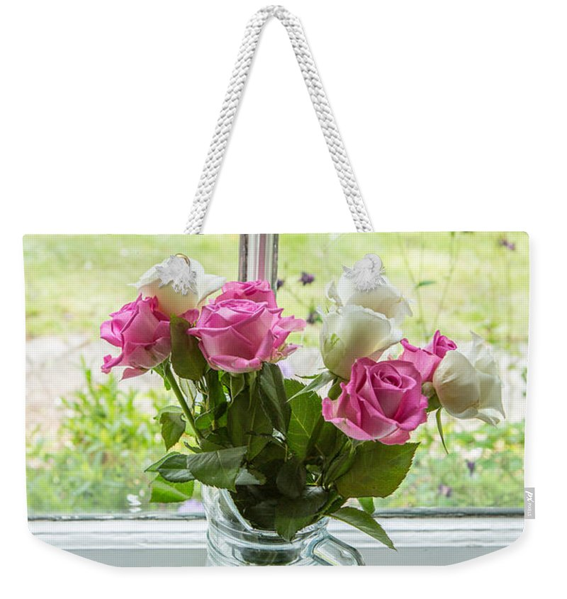 Roses In Vase Weekender Tote Bag featuring the photograph Rose Vase With Hearts by Iris Richardson