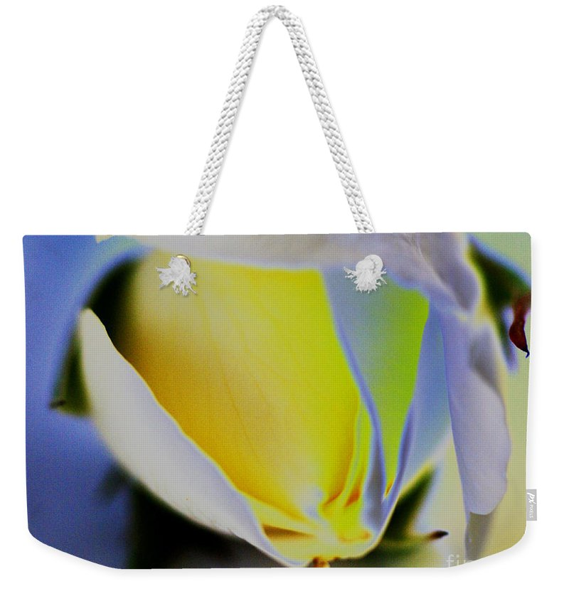 Yellow Weekender Tote Bag featuring the digital art Rose Yellow by Carol Lynch