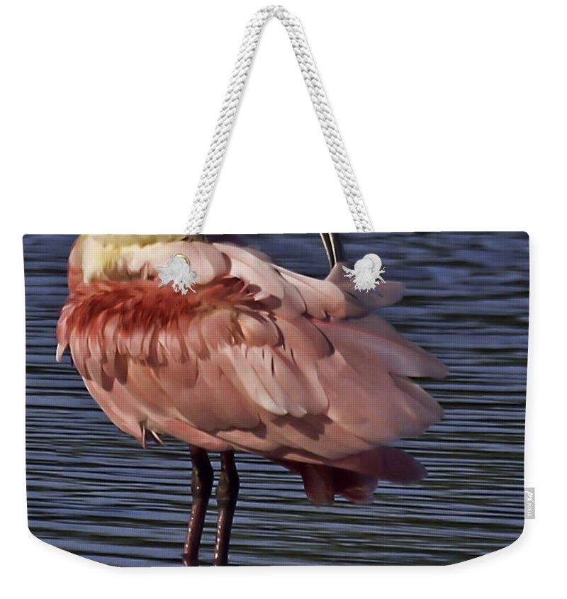 Roseate Weekender Tote Bag featuring the photograph Roseate Spoonbill by James Ekstrom